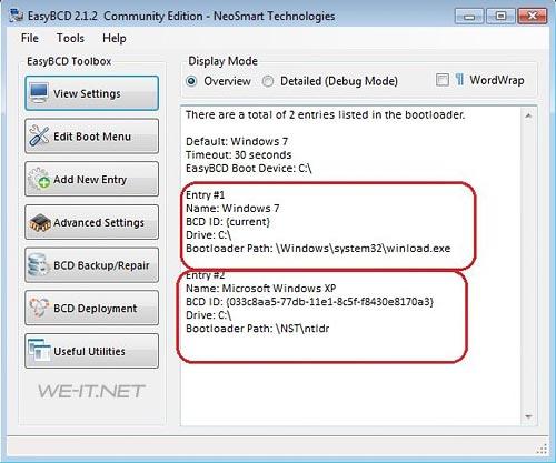 ... записи в загрузчике windows 7 и windows xp рис 3