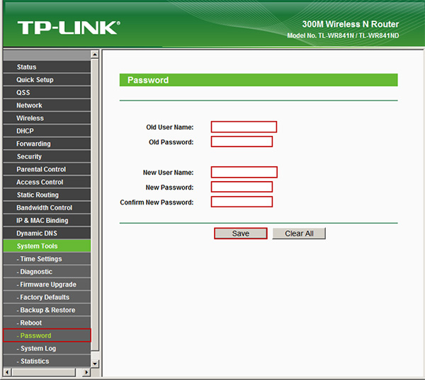 TP-link TL-WR841N System tools, Password
